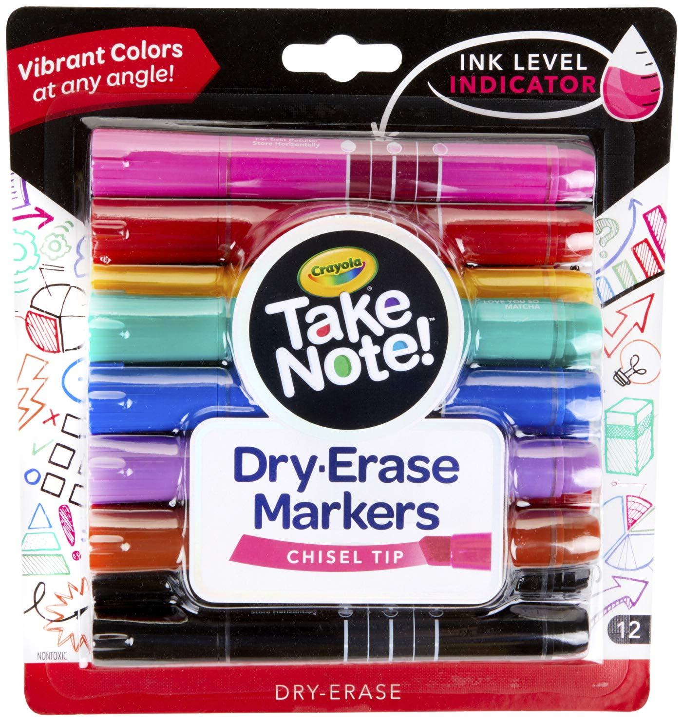 Marcadores de borrado en seco de bajo olor Crayola, punta de cincel, colores surtidos, suministros para el regreso a la escuela, 12 cuentas