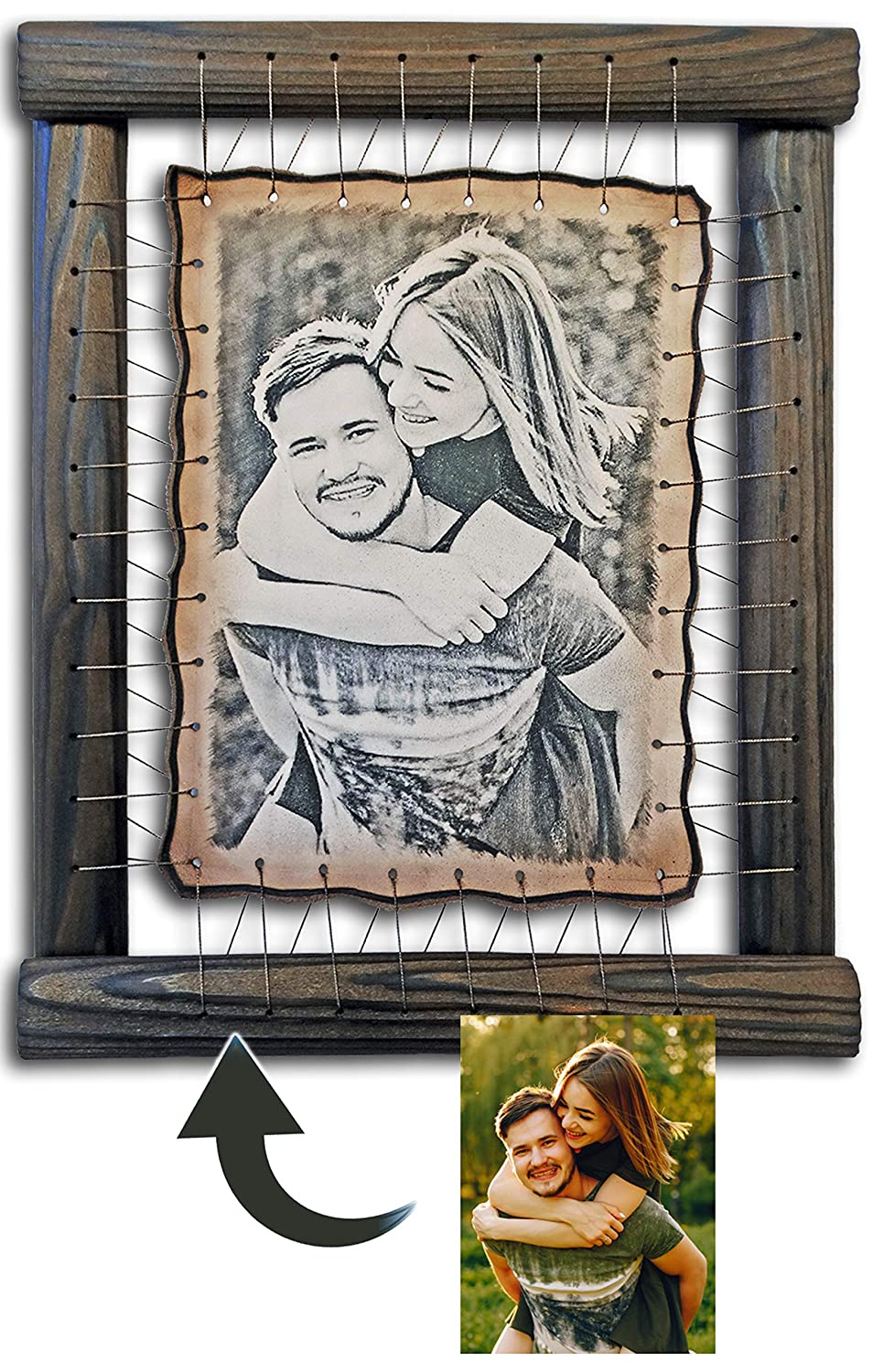 by Artists on Leather Your Photo Hand Engraved Etched 2 Year Anniversary Gifts For Boyfriend RARE Pyrography Handmade Technique