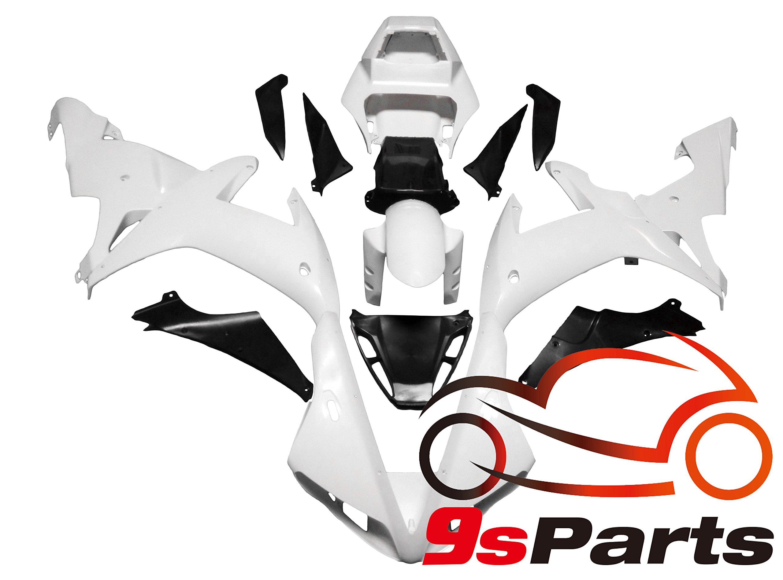 9sparts Unpainted ABS Plastic Injection Pre-Drilled Hole Cowl Fairings Bodywork Kit Complete Set For 2002 2003 Yamaha YZF R1