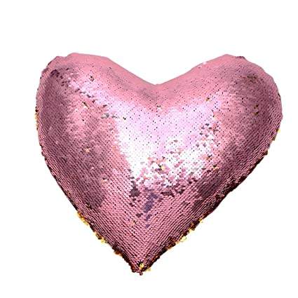 Amazon.com: WINOMO Throw Pillow Case Heart Shape Sequin ...