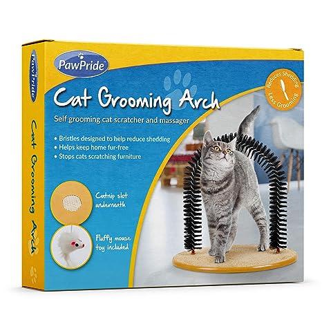 PawPride Juguete rascador para Gato, Accesorio de Masaje para Mascotas con cerdas Suaves y Base