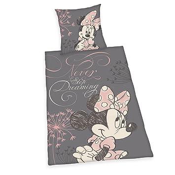 Herding 4478207050412 Bettwäsche Minnie Mouse Kopfkissenbezug 80 X 80 Cm Bettbezug 135 X 200 Cm 100 Baumwolle Linon