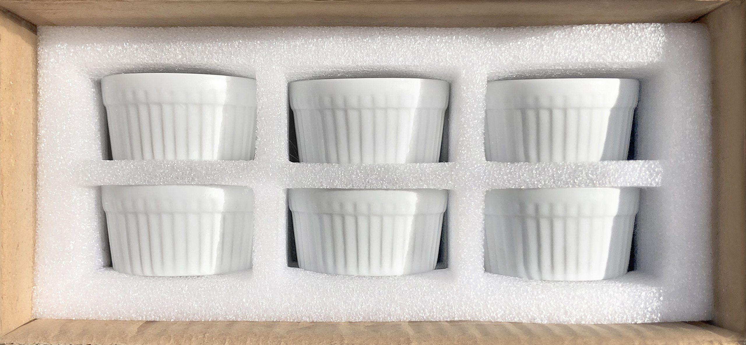 Furmaware White Porcelain 3oz Ramekins Set: 6-Piece Baking & Serving Individual Ramekin Bowls| Sturdy & Classy No Odor & Easy To Clean Ramekin Cups| Decorative Soufflé, Sauce, Dressing & Dip Ramekins