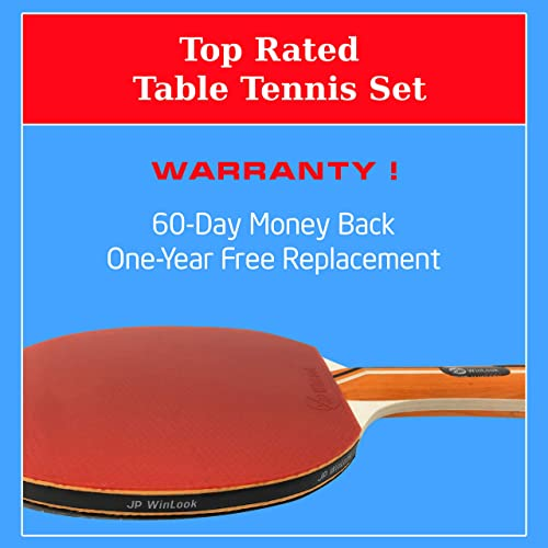 JP WinLook Ping Pong Paddle – 4 Pack Pro Premium Table Tennis Racket Set 8 Professional Game Balls Rubber Spin Bat Training Accessories Racquet Bundle Kit Portable Cover Case Indoor Outdoor