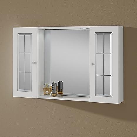 Specchio Bagno Contenitore Led.Specchio Bagno Contenitore Con Due Pensili E Luce Tiziana