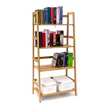 Bücherregal Aus Büchern relaxdays bücherregal aus bambus mit 4 ablagen hxbxt ca 120 x 57 x