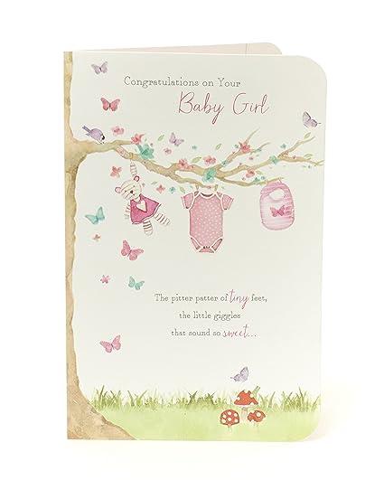 Tarjeta de felicitación para recién nacida, diseño de niña ...