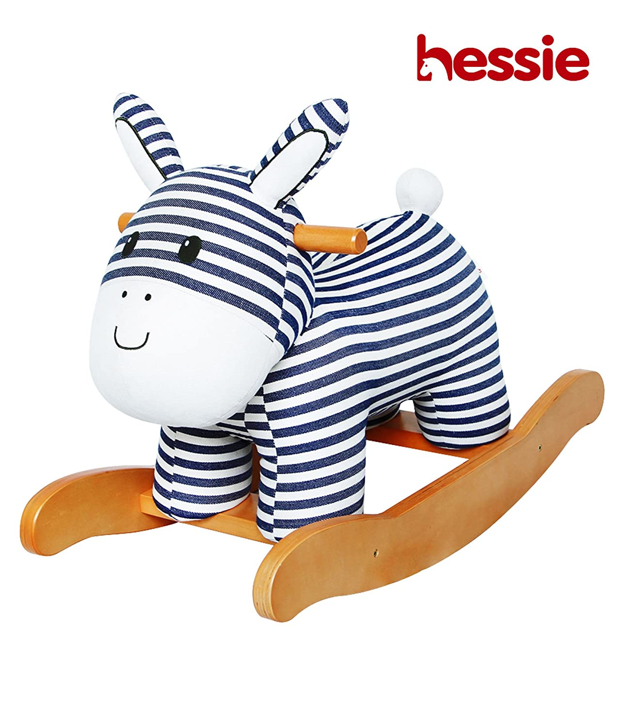 Hessie Modern Plush Rocking Horse with Soft Cute Stuffed Animal, Indoor Ride On Toys Rockers for Toddlers Kids Little Boys Girls 6-36 Months – Padded Stripe Donkey