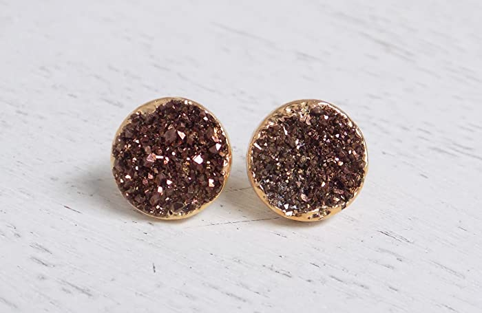 gold stud geode earrings drusy agate stone earring druzy il products fullxfull rose quartz silver