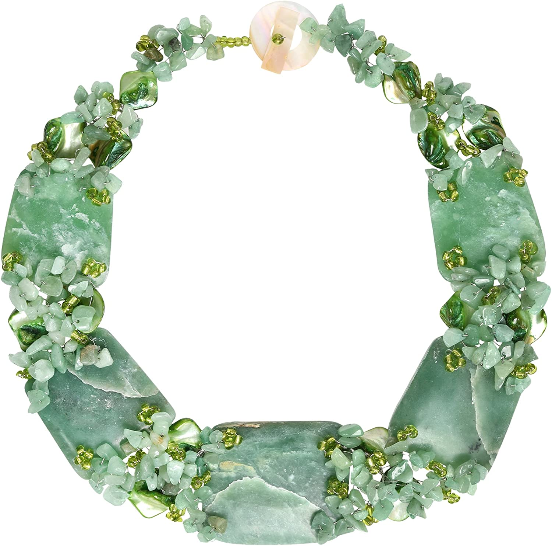 AeraVida Chunky Simulated Jade and Sea Shells Link Toggle Necklace