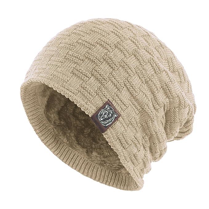 ffe1406884d Janey Rubbins Winter Baggy Oversize Solid Knit Beanie Hat Warm Villi Lined  Skull Ski Cuff Stocking Cap