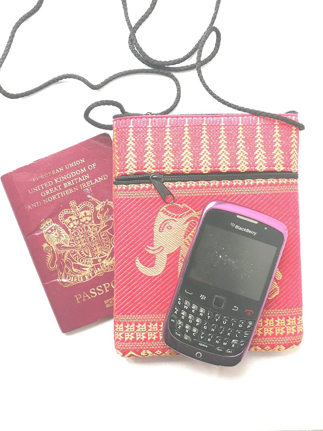 Elephant passport shoulder bag - pink with 2 pockets: Amazon.co.uk: Kitchen  & Home