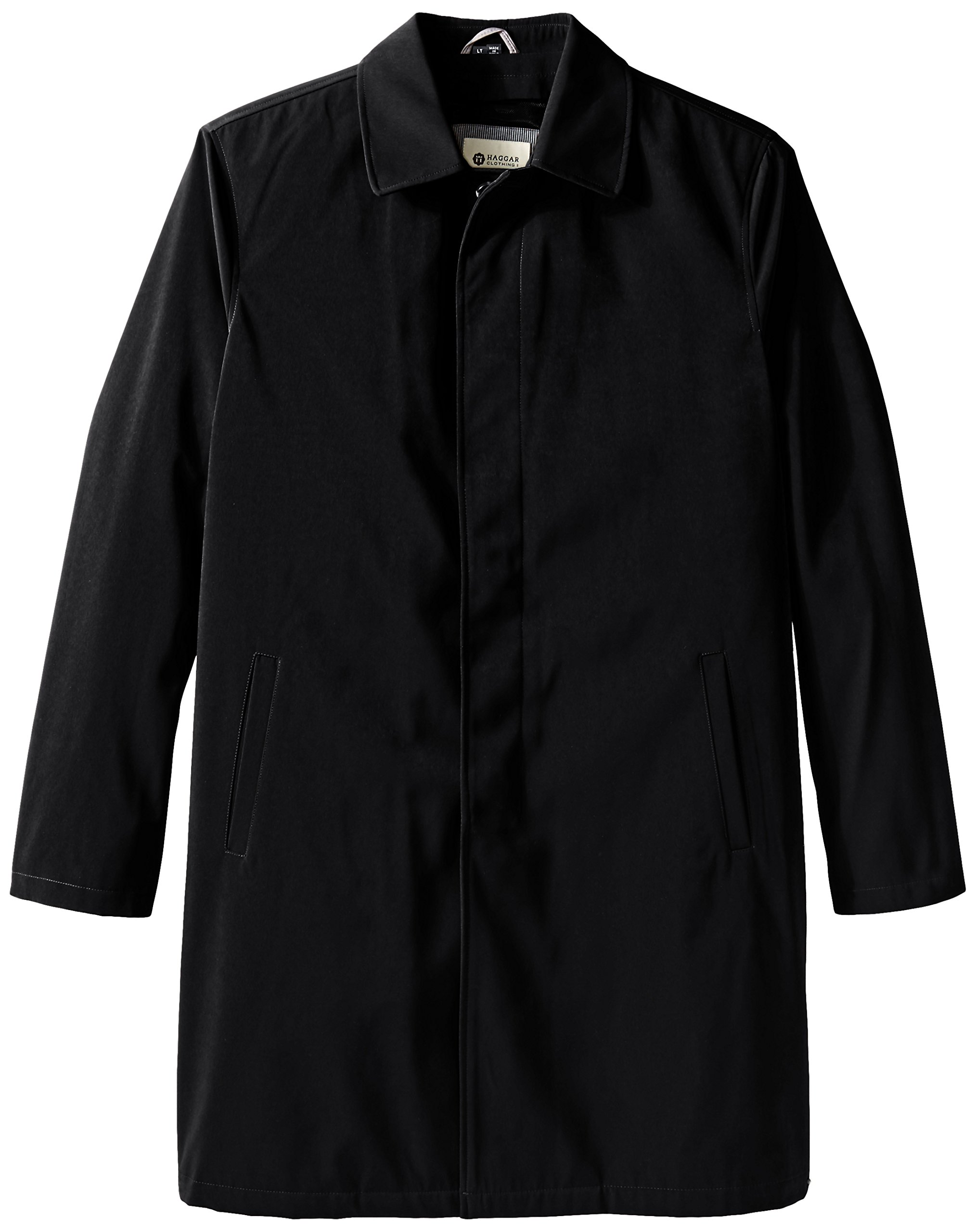 Haggar Men's Big-Tall Kildare Updated Classic Coat with Zip-Out Liner, Black, X-Large/Tall
