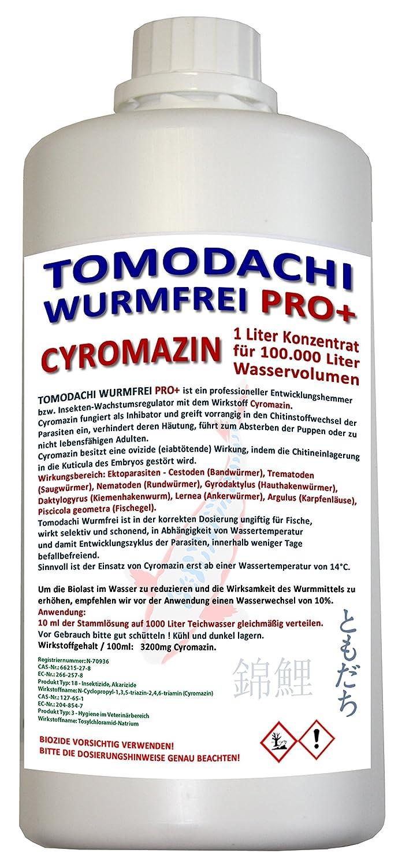 Wurmmittel Koiteich, antiwurm - wurmfrei, karpfenlausfrei, Parasitenbekämpfung mit Cyromazin - beseitigt schonend, dauerhaft und nachhaltig Würmer und andere Parasiten im Koiteich. Tomodachi Wurmfrei Pro Plus 1L Cyromazin Konzentrat ausreichend für 100.000