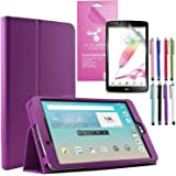 """LG G Pad 2 8.0 /G Pad F 8.0 Case, EpicGadget(TM) LG G Pad II/F 8"""" PU Leather Folding Folio Cover Case with Built in Stand For Gpad F/2 8.0 V495 V496 V497 V498 UK495 + Screen Protector (Purple)"""