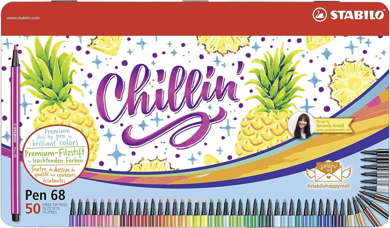 Chillin Pineapple Design by Amanda Arneill STABILO Pen 68-46 Colori assortiti Scatola in metallo da 50 Pennarello Premium
