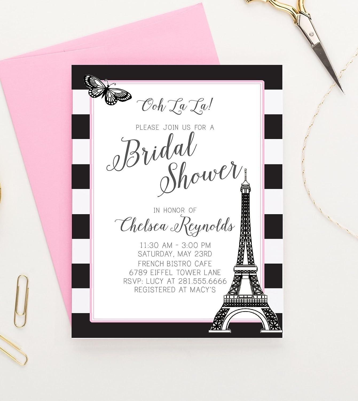 Amazon Com Paris Themed Bridal Shower Invitations Paris Bridal