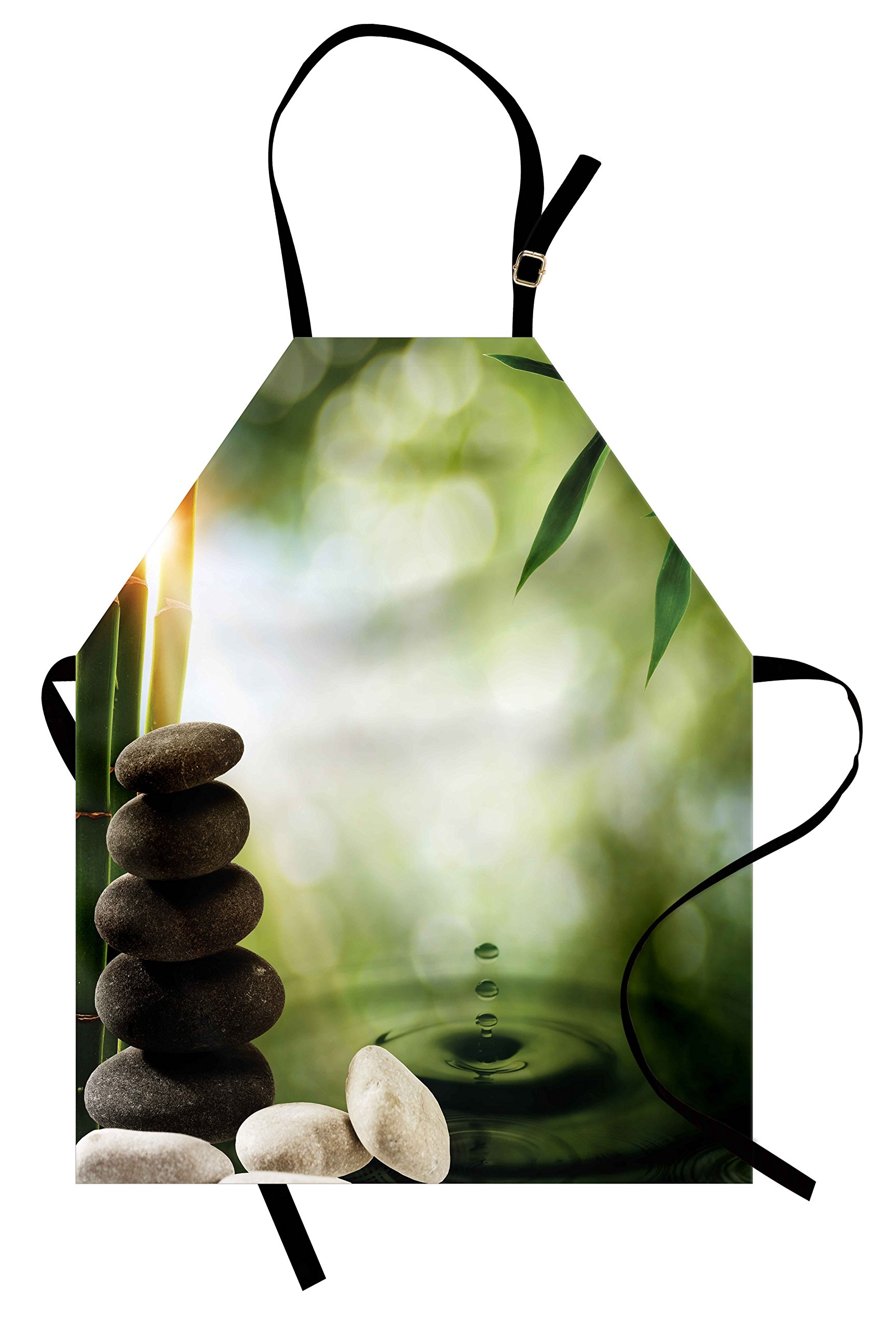 Lunarable Tropical Apron, Abstract Eco Background with Bamboo Tree Water Splash Bubbles and Spa Stones, Unisex Kitchen Bib Apron with Adjustable Neck for Cooking Baking Gardening, Green Grey White