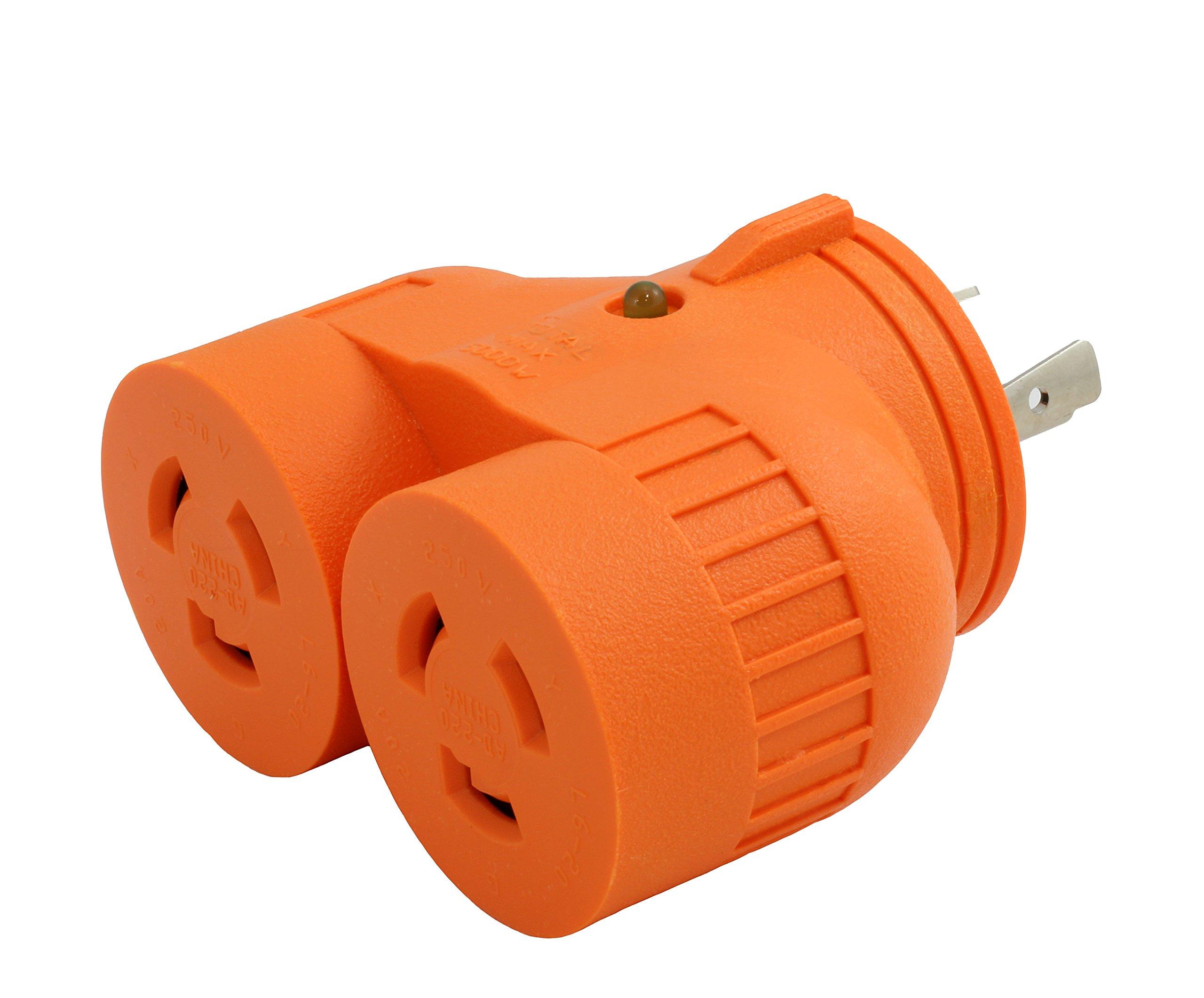 AC WORKS [ADVL620L620] V-DUO Adapter NEMA L6-20P 20Amp 250Volt 3-Prong Locking Plug to (2) L6-20R 20Amp 250Volt Locking Female Connectors