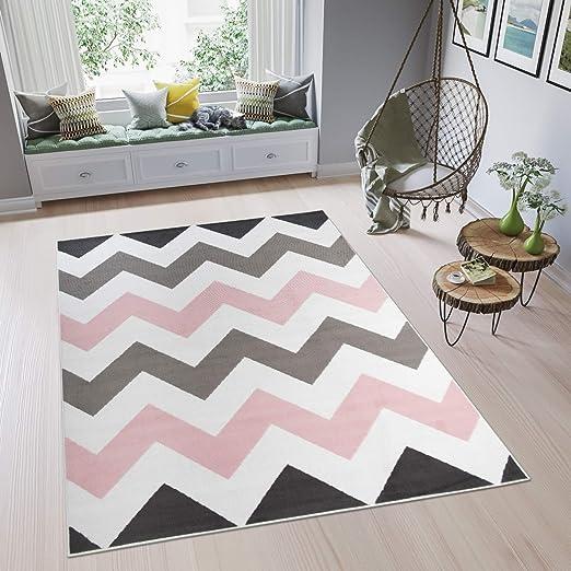 Tapiso Pimky Tapis de Salon Chambre Ado Design Moderne Rose Blanc Gris Noir  Géométrique Zigzags Doux Fin 80 x 150 cm