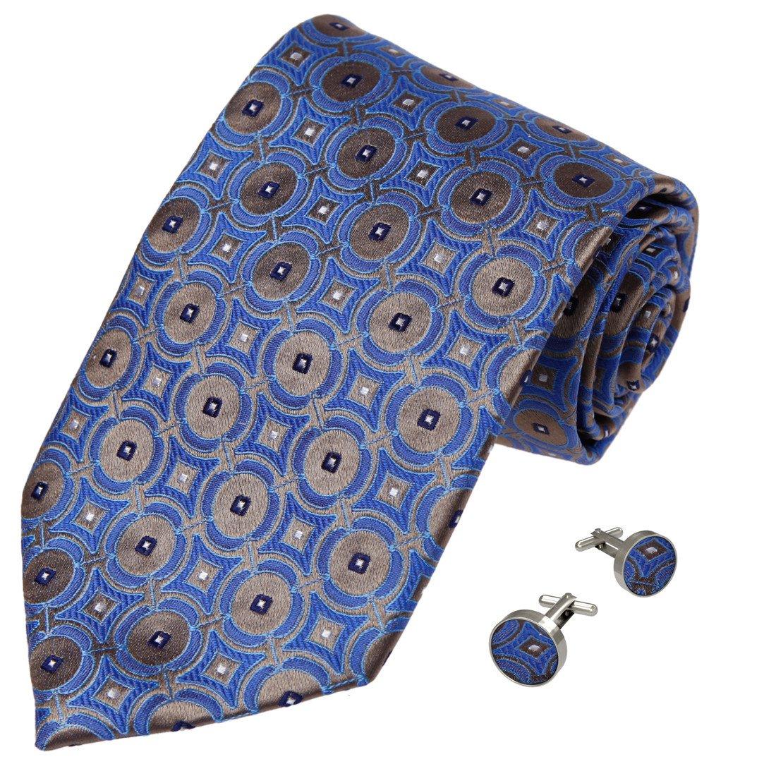 Y/&G Mens Fashion Various of Colors Polka Dots Necktie Birthday Gifts Silk Tie Cufflinks 2PT