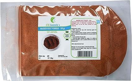 Polvo de raíz Madder - 100 gr - Tinte capilar 100% natural y colorante para productos cosméticos