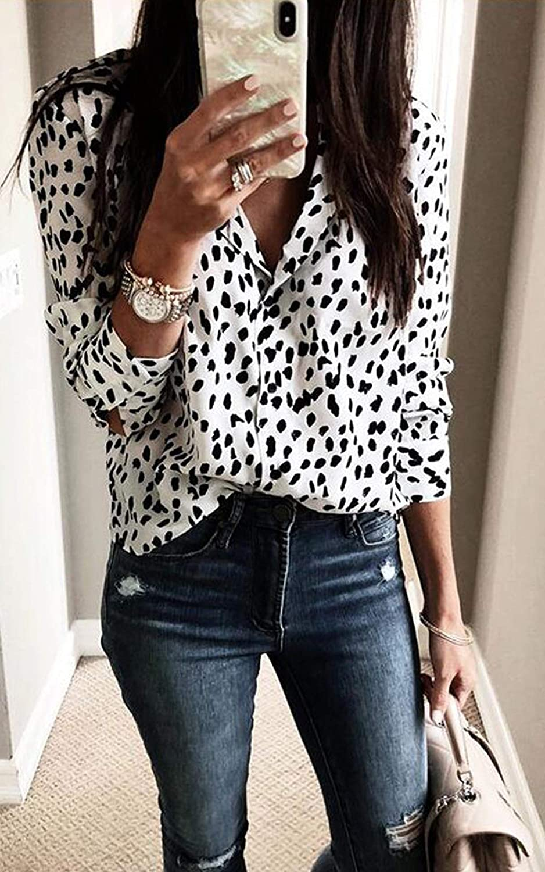 ECOWISH dam blus leopardmönster skjorta V urringning Button Down Shirt krage långärmad tröja toppar topp 235 Weiß