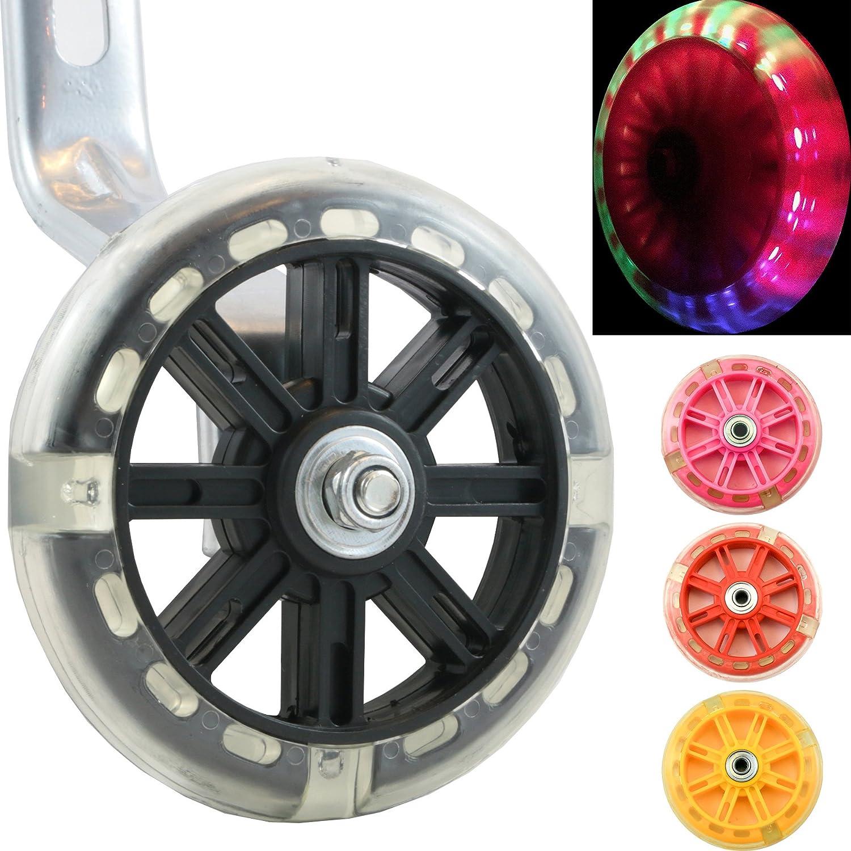 Wheels of Awesomeness–Intermitente LED para ruedines para bicicletas de niños de Bikes & Coi. Intermitente rojo, verde y azul para hacer ciclismo con diversión y seguridad, negro Bikes&.co