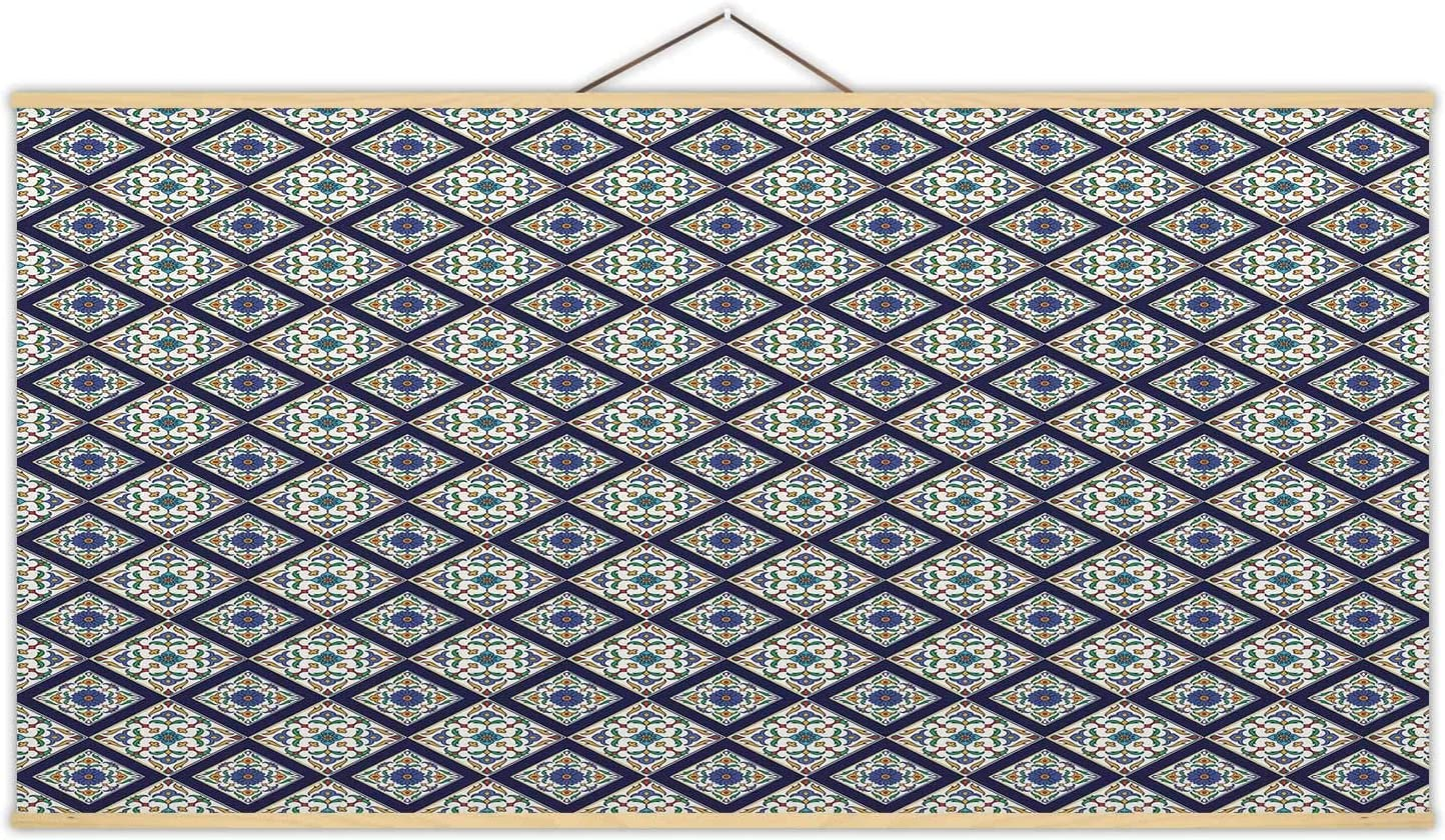 Amazon Com Aa Seamless Texture Pretty Colored Pattern For Design And Fashion With Decorative Elements Portuguese Tiles Canvas Poster Azulejo For Wall 24x12in Posters Prints