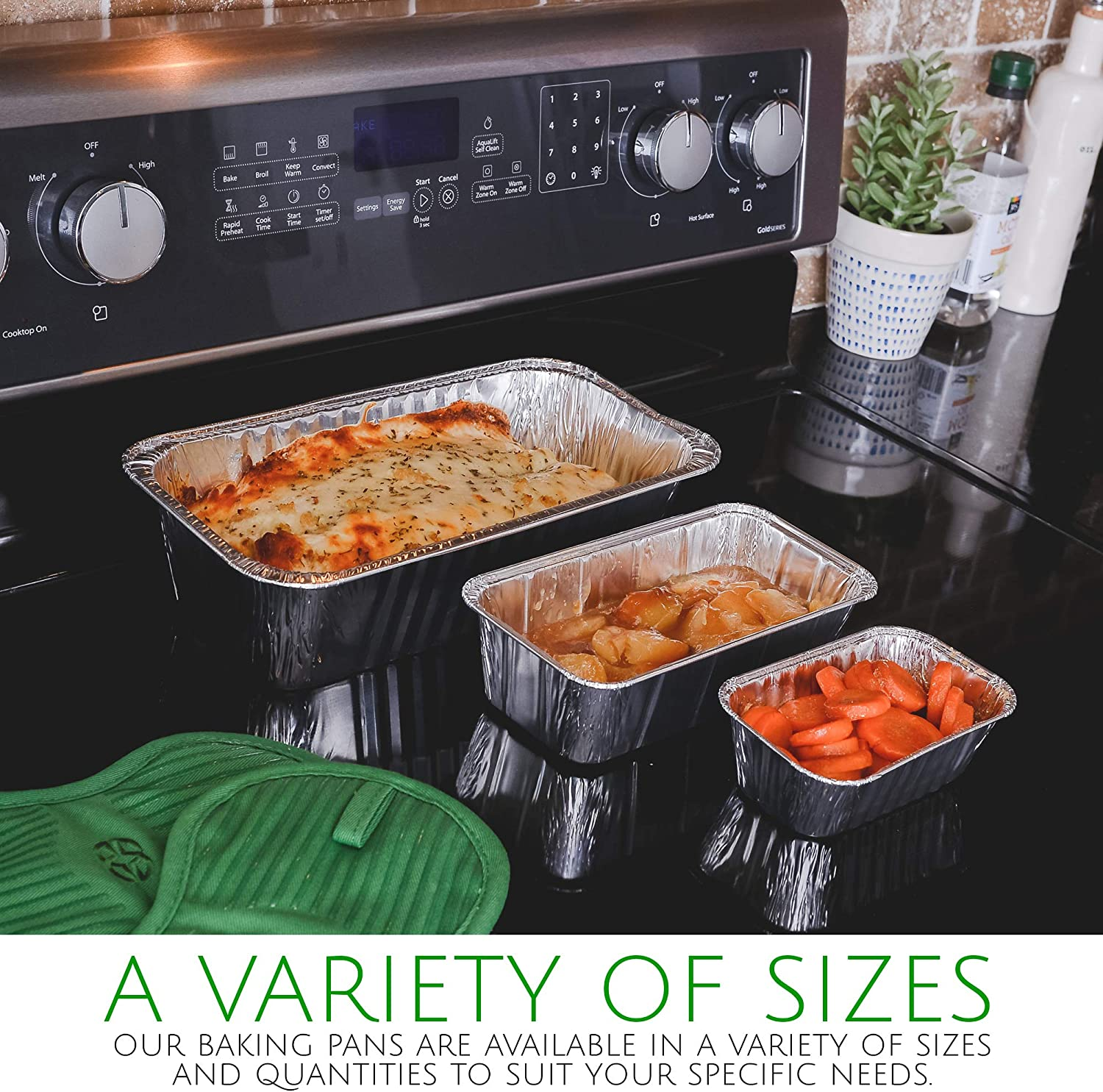 Plasticpro Cookware Perfect for Baking Cakes 2 Lb 50 Pack Meatloaf Disposable Loaf Pans Aluminum Tin Foil Meal Prep Bakeware Lasagna 2 Pound 8.5 X 4.5 X 2.25 Bread