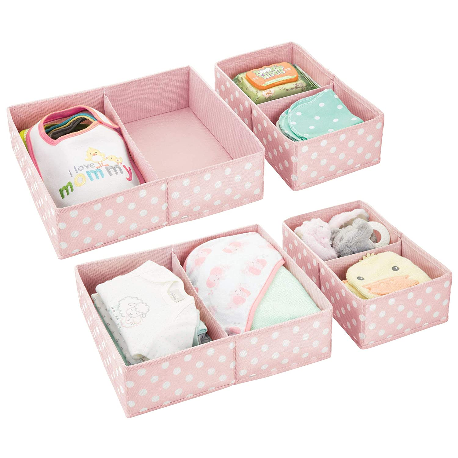 mDesign Soft Fabric Dresser Drawer and Closet Storage Organizer Set for Child/Kids Room, Nursery Divided Organizers in Two Sizes - Fun Polka Dot Pattern, Set of 4, Light Gray with White Dots MetroDecor