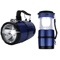 DOCOSS Camping 2-in-1Portable Bright High Power PVC Solar Lantern Rechargeable Led Torch with Emergency Light_Blue_Medium