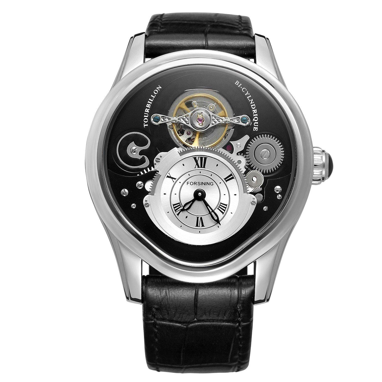 Forsining Fashion Tourbillion Black Genuine Leather Strap Men's Watch Top Brand Luxury Automatic Wristwatch