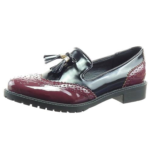 Sopily - Zapatillas de Moda Mocasines Tobillo Mujer Patentes Perforado Pompom Talón Tacón Ancho 3 CM - Rojo WLD-8-L01-2 T 41: Amazon.es: Zapatos y ...