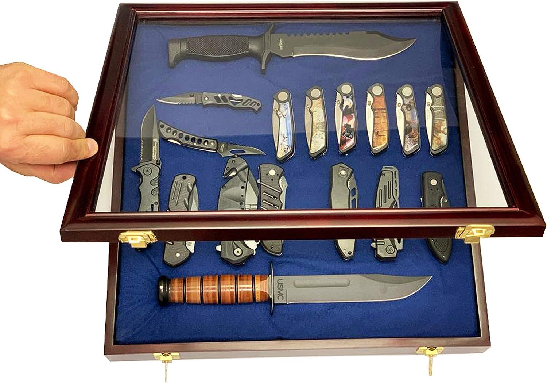 DECOMIL - Pocket Knife Display Case Cabinet Shadow Box, Glass Lockable Door, Cherry Finish