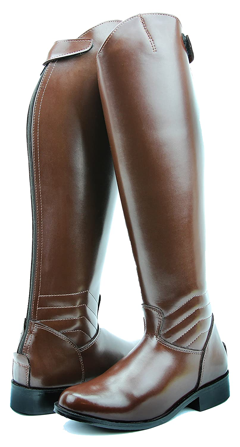 HisparメンズManエレガントドレスDressage Boots with Zipper英語Riding Equestrian ブラウン 9 2Plus Calf
