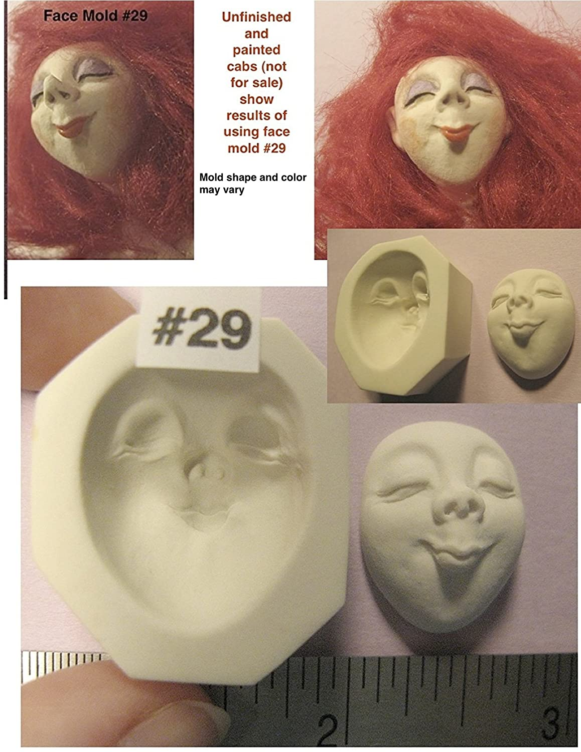 #0029 - Flexible Food Grade Silicone Push Press Mould Mold of a Female Character Doll Face Cab Marina Art of Two M' s