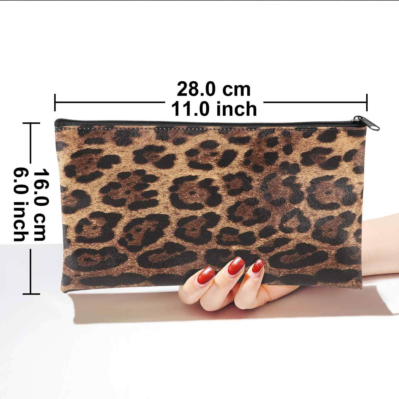 HULISEN 3Pcs Bank Deposit Money Bag Utility Coin Bags for Cash Money Leatherette Security Zipper Wallet Leopard Print