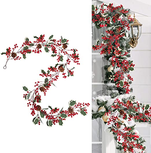 Red Christmas Berry Garland and Rustic Warm Light 2 Meter6.6 Feet Christmas Theme Copper Light Up Garland SALE