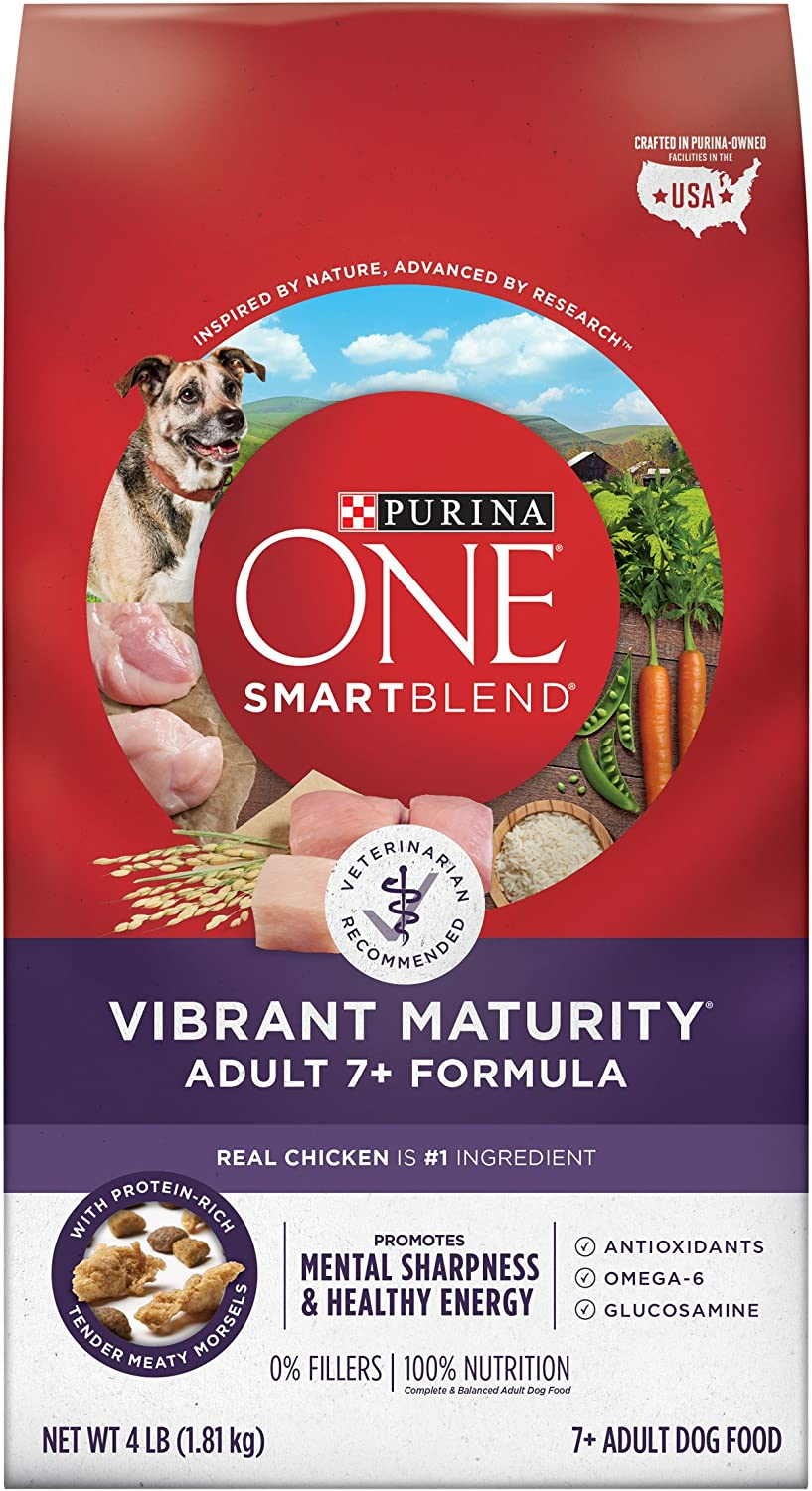 Purina ONE Senior Dry Dog Food, SmartBlend Vibrant Maturity Adult 7+ Formula - (4) 4 lb. Bags
