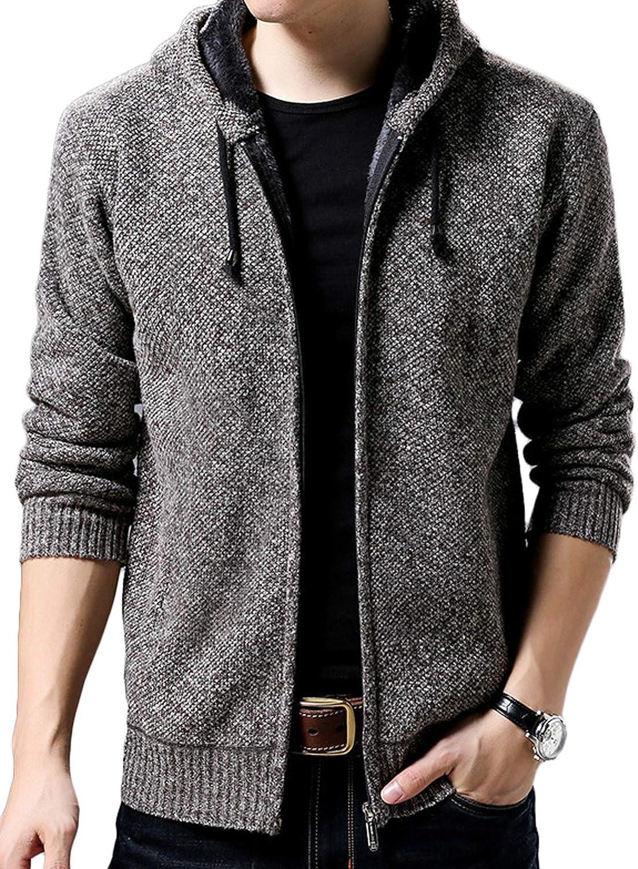 Youhan Mens Casual Zip Up Hooded Fleece Lined Sweater Jacket