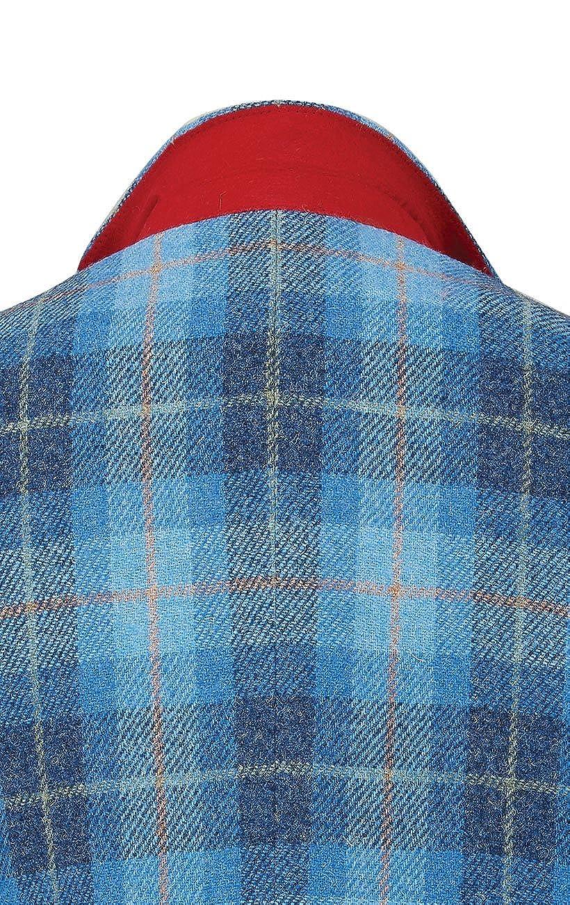 Harris Tweed Mens Blue Check Tweed Jacket Regular Fit 100/% Wool Notch Lapel