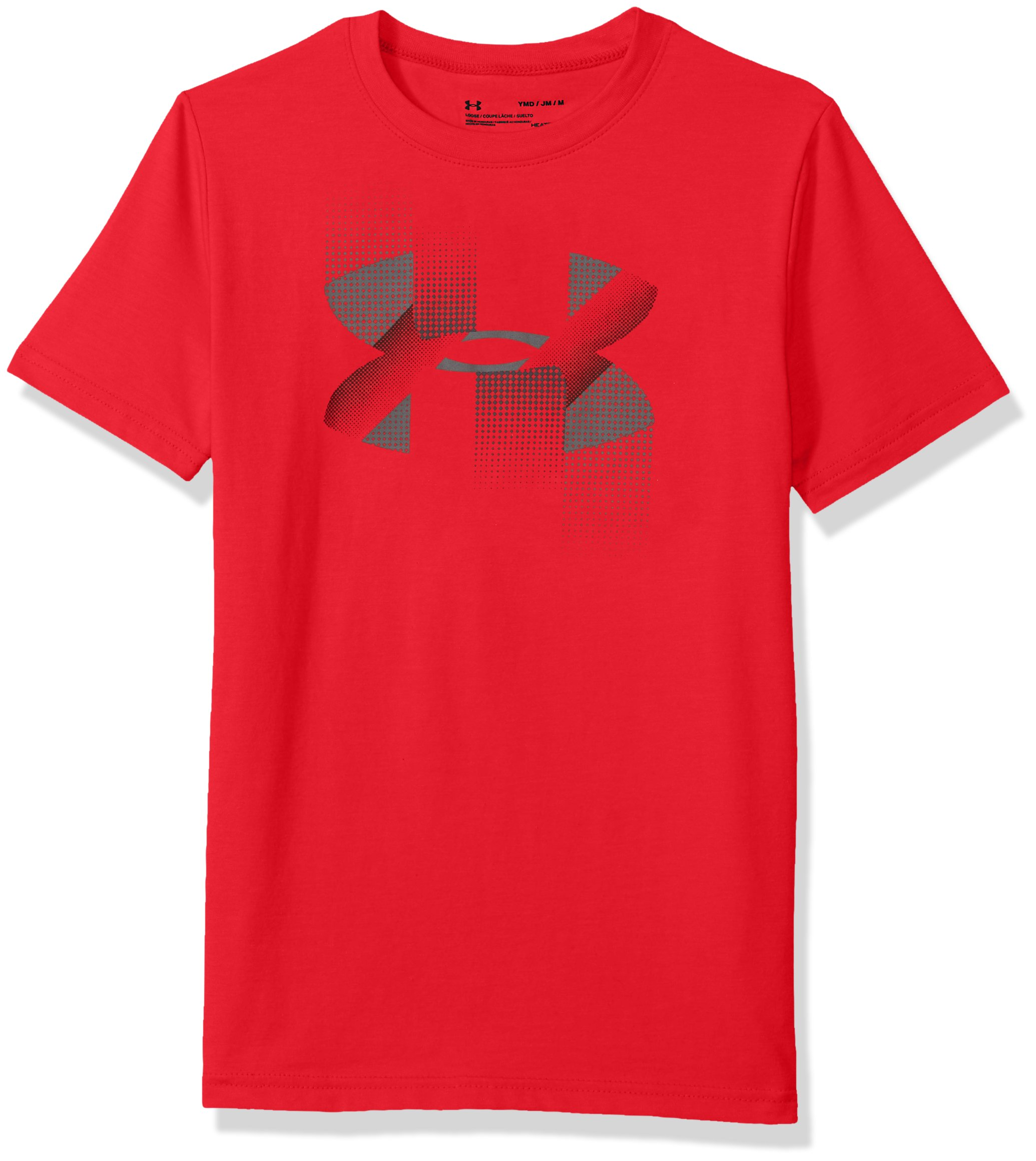 Under Armour Boys' Rapid Logo T-Shirt, Red (600)/Graphite, Youth Large