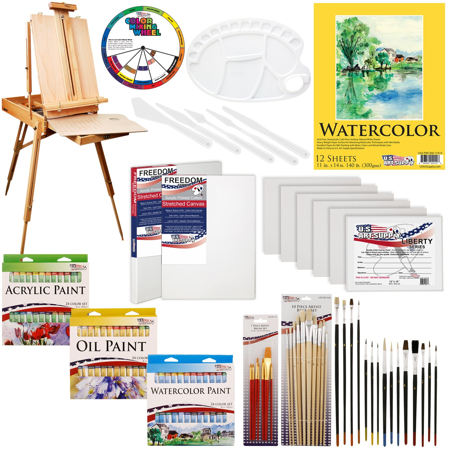 US ART SUPPLY 121-Piece Custom Artist Painting Kit with Coronado Sonoma Easel, 24-Tubes Acrylic Colors, 24-Tubes Oil Painting Colors, 24-tubes Watercolor Painting Colors, 2-each 16''x20'' Artist Quality Stretched Canvases, 6-each 11''x14'' Canvas Panels, 11''x by US Art Supply