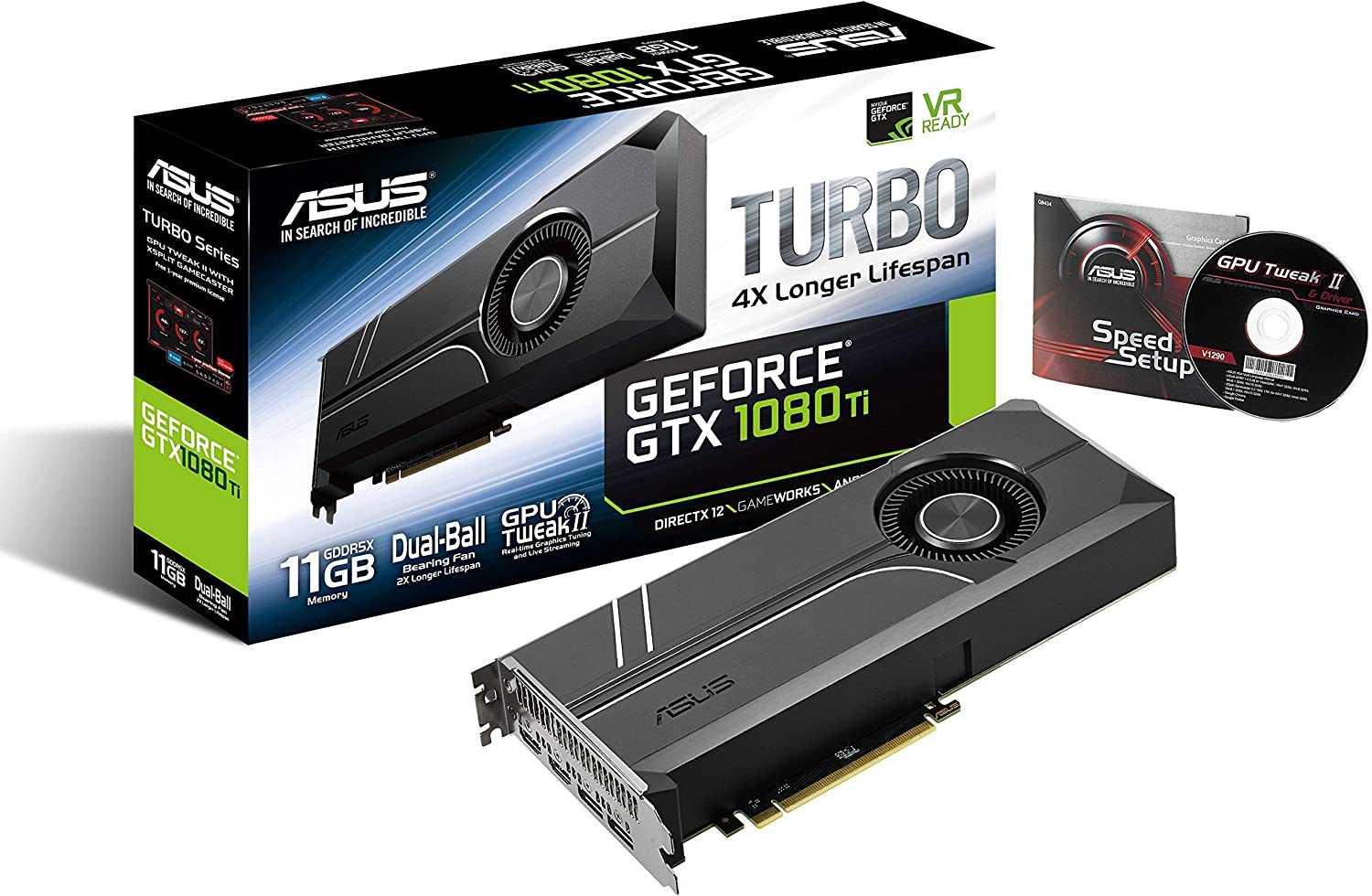 ASUS GeForce GTX 1080 TI 11GB Turbo Edition VR Ready 5K HD Gaming HDMI DisplayPort PC GDDR5X Graphics Card TURBO-GTX1080TI-11G (Renewed)