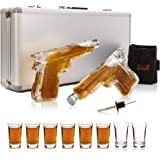 ShotsClub Gun Whiskey Decanter and Glass Set – 2 x 7oz Unique Gun Decanters for Alcohol, 8 x 1.5oz Shot Glasses, 1 x Dual Holster & 1 x Pourer – Fun Gifts For Men (Deluxe Aluminum Carry Case)