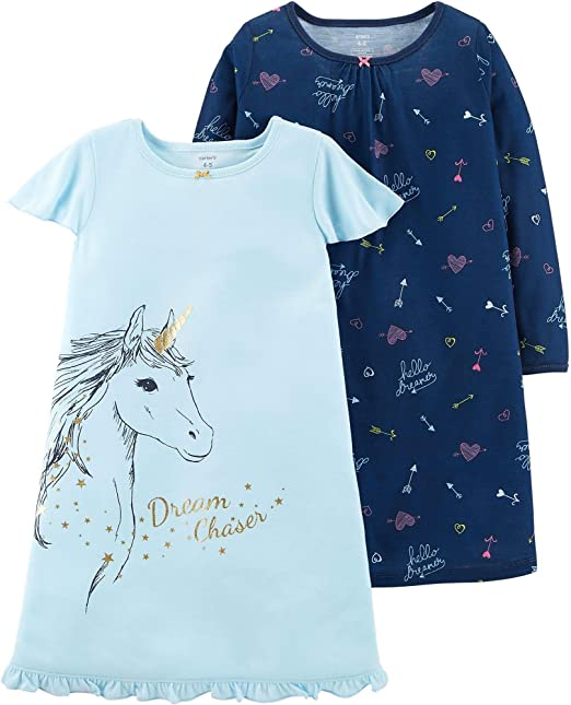 Amazon.com: Carters Girls 2 Pack Sleep Nightgowns: Clothing