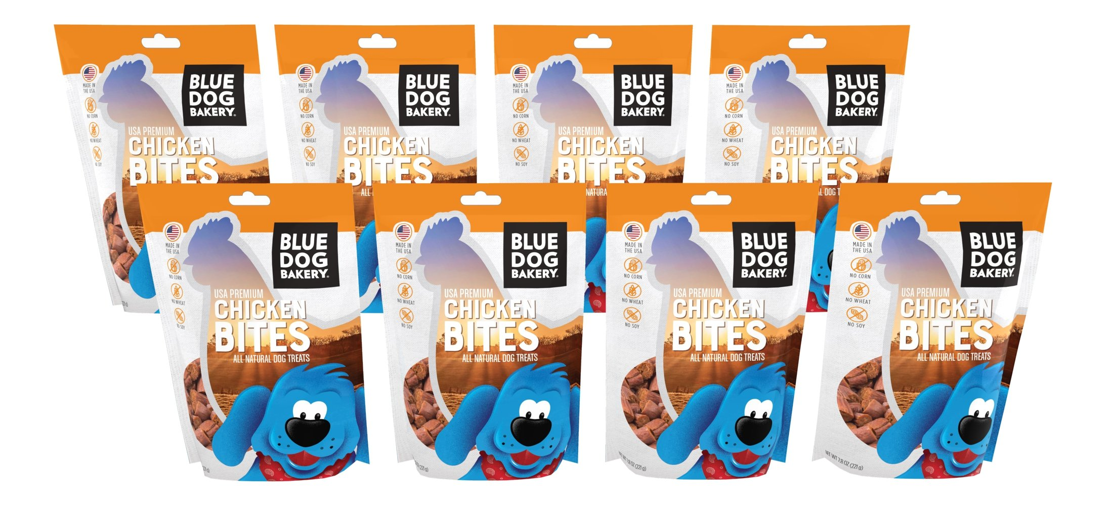 Blue Dog Bakery | Deli Bite Dog Treats | All-Natural | Grain-Free | Chicken | 7.8oz (Pack of 8)
