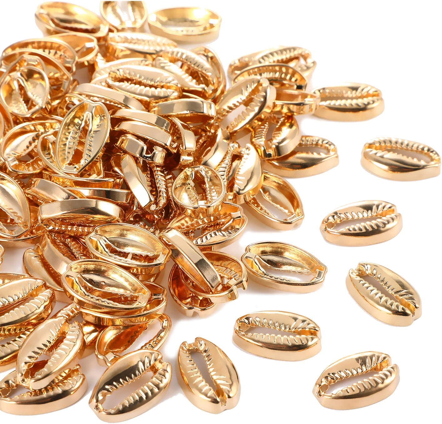 10 pcs 13 x 15 x 8 mm Wholesale Metal White Seashell Charms Charms for Necklace Bracelet Anklet Making