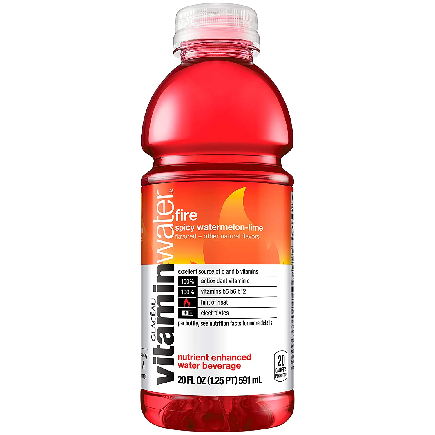vitaminwater Fire Electrolyte Enhanced Water With Vitamins Spicy Watermelon Drink, 20 fl oz